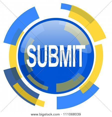 submit blue yellow glossy web icon