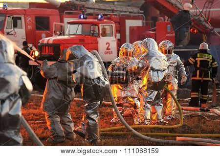 Orel, Russia - December 09, 2015: Emergency Control Ministry (mchs) Tactical Exercise. Firemen With