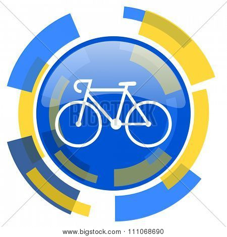 bicycle blue yellow glossy web icon