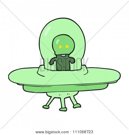 freehand drawn cartoon alien in flying saucer