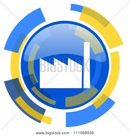 factory blue yellow glossy web icon