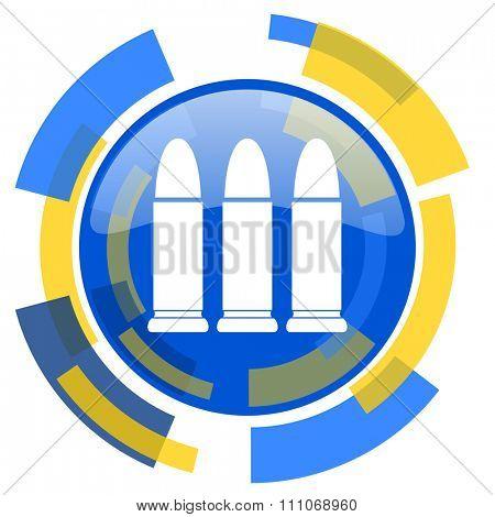 ammunition blue yellow glossy web icon
