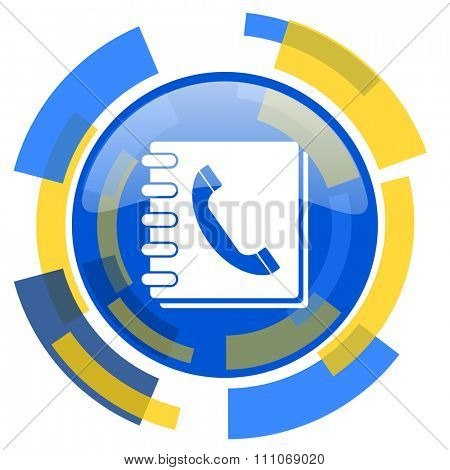 phonebook blue yellow glossy web icon