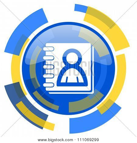 address book blue yellow glossy web icon