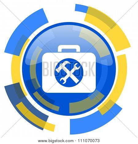 toolkit blue yellow glossy web icon