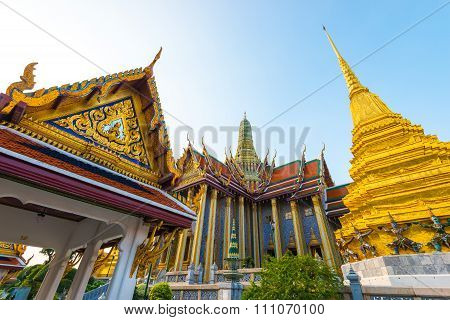 Wat Phra Kaew, Temple of the Emerald Buddha and the home of the Thai King. Wat Phra Kaeo is one of Bangkok's most famous tourist sites and it was built in 1782 at Bangkok, Thailand.