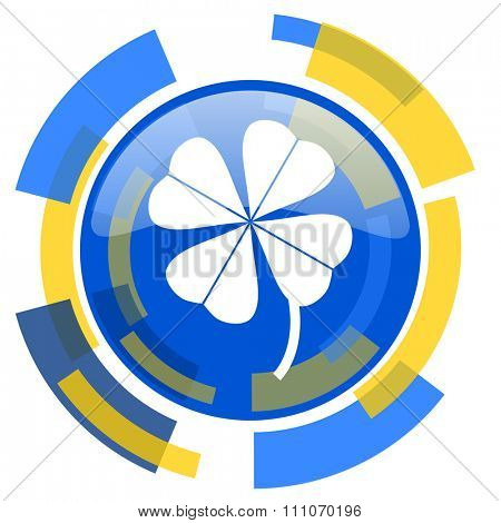 four-leaf clover blue yellow glossy web icon