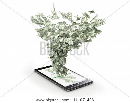 Money Whirlwind Take Dollar Banknotes From The Phone. Payment Of Phone Talks.