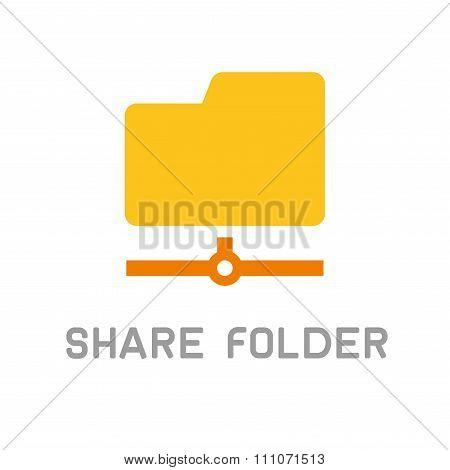 Folder Sharing Icon. Flat Design Style. Vector