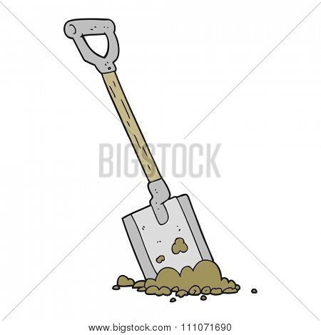 freehand drawn cartoon shovel in dirt