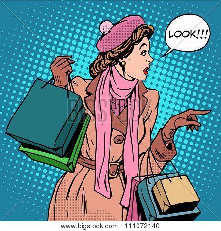 Woman shopping buy discounts look