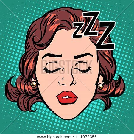 Emoji icon woman face sleep