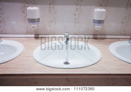 Bathroom With Sinks In Hostel