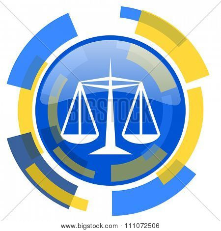 justice blue yellow glossy web icon