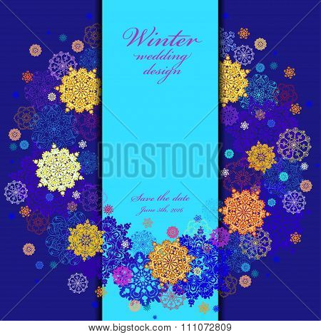 Wedding wreath frame design. Winter snowflakes background. Text place.