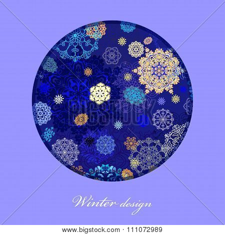 Winter circle design with golden and blue.