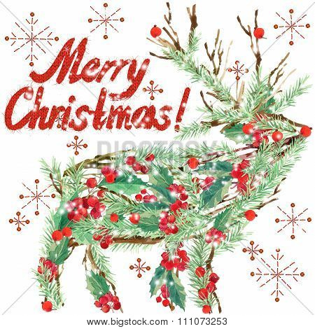 watercolor Christmas reindeer. Wish Merry Christmas text. watercolor winter holidays background.