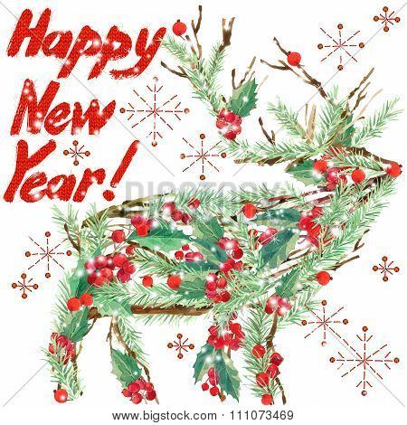 watercolor Christmas reindeer. Wish Happy New Year text. watercolor winter holidays background. illu