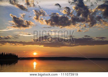 Sunset on a northern lake
