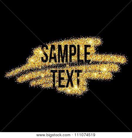Golden sparkles brushstroke background. Vector illustration