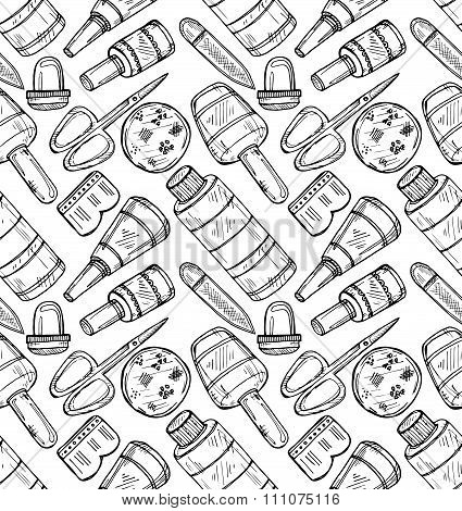 Pattern With Manicure Equipment
