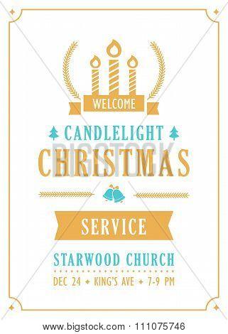 Christmas Candlelight Service Church Invitation