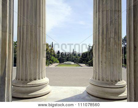 columns of Zappeion megaro hall Athens Greece