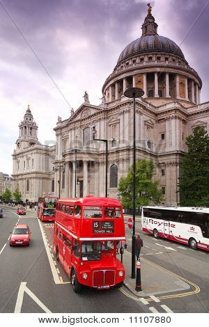 St. Paul's Cathedral And Red Double-decker