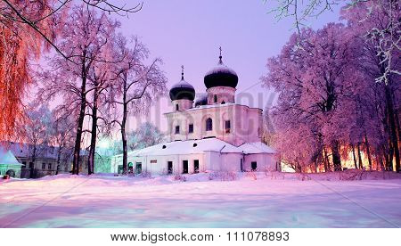 Winter Landscape - Cathedral Of The Nativity Of Our Lady In Saint Anthony's Monastery In Veliky