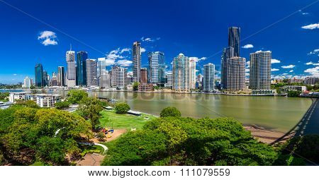 BRISBANE, AUS - NOV 18 2015: Panoramic view of Brisbane Skyline and the river. It is Australias third largest city, capital of Queensland.