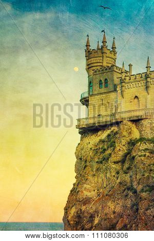 Swallow's Nest castle in colorful postcard style
