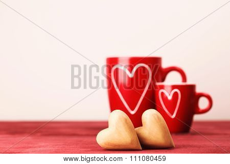 Two cups and two hearts
