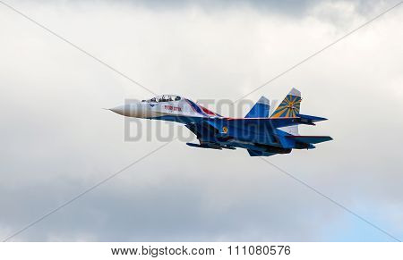 Shows demonstration flight at air show MAKS 2015.