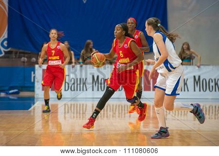 MOSCOW -- DECEMBER 4, 2014:  D. Hightower (6) Maccabi Ashdod Israel on the International Europe bascketball league match vs Dynamo Moscow in sport palace Krilatskoe, Moscow, Russia. Dynamo loss 59:67