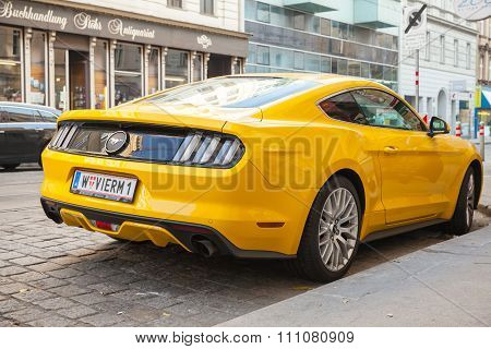 Yellow Ford Mustang 2015 Car, Rear View
