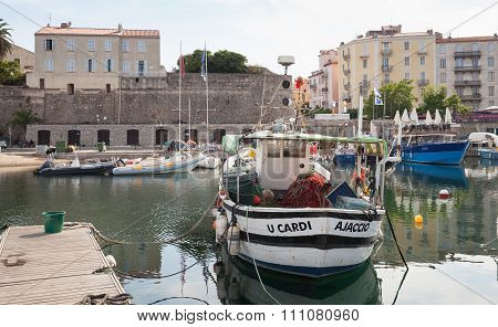 Old Wooden Fishing Boats Moored In Ajaccio