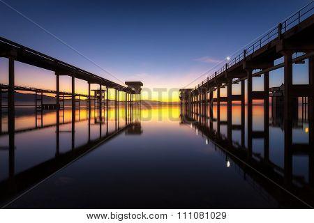 Natural landscape view at Reservoir (Bang-Pra reservoir) in morning, Thailand.