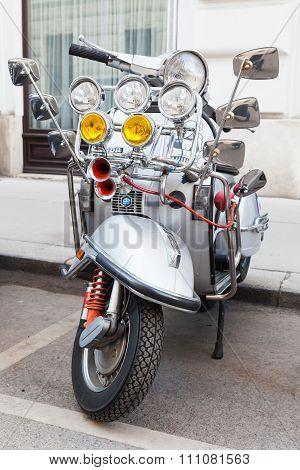Silver Metallic Classical Italian Vespa Scooter