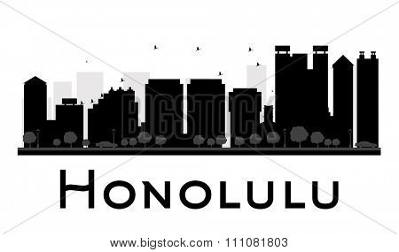 Honolulu City skyline black and white silhouette. Simple flat concept for tourism presentation, banner, placard or web site. Business travel concept. Cityscape with famous landmarks