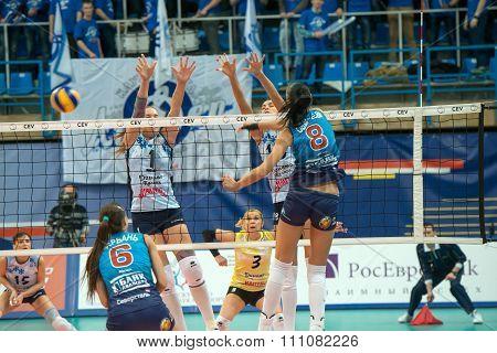 MOSCOW RUSSIA - DECEMBER 2, 2015: N. Obmochaeva (Dynamo (MSC) 8 while playing on women's Rissian volleyball Championship game Dynamo (MSC) vs Dynamo (KZN) at the Luzhniki stadium in Moscow Russia. Kazan won in serie 3: 2