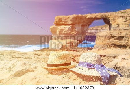 two hats at Azure Window in Gozo island
