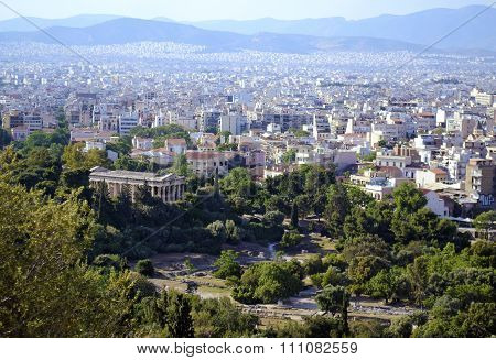 cityscape of Athens Greece Temple of Hephaestus