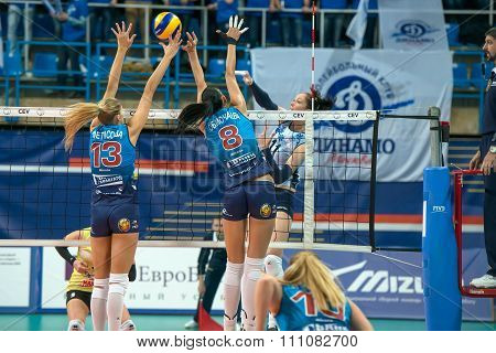 MOSCOW RUSSIA - DECEMBER 2,2015: Unidentified players in action during the game on women's Rissian volleyball Championship game Dynamo (MSC) vs Dynamo (KZN) at the Luzhniki stadium in Moscow Russia. Kazan won in serie 3: 2