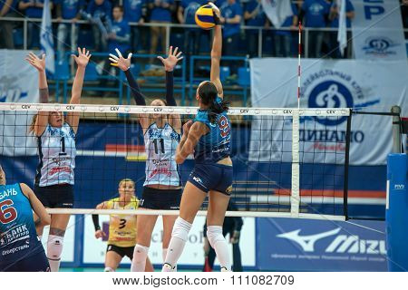 MOSCOW RUSSIA - DECEMBER 2,2015: N. Obmochaeva (Dynamo (MSC) 8 while playing on women's Rissian volleyball Championship game Dynamo (MSC) vs Dynamo (KZN) at the Luzhniki stadium in Moscow Russia. Kazan won in serie 3: 2