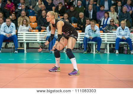 MOSCOW RUSSIA - DECEMBER 2, 2015: Anna Malova (Dynamo (MSC) 3 while playing on women's Rissian volleyball Championship game Dynamo (MSC) vs Dynamo (KZN) at the Luzhniki stadium in Moscow Russia. Kazan won in serie 3: 2