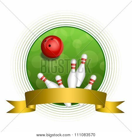 Background abstract green bowling red ball gold ribbon circle frame vector