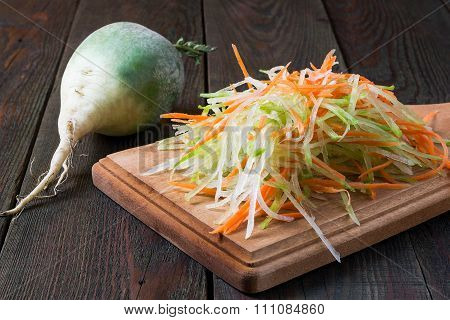 Prepare The Ingredients For Salad Of Green Radish And Carrots