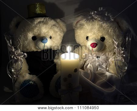 Wedding Setting: Hand Made Teddy Boy And Girl, White And Gold Candle, Wedding Glasses By Candlelight
