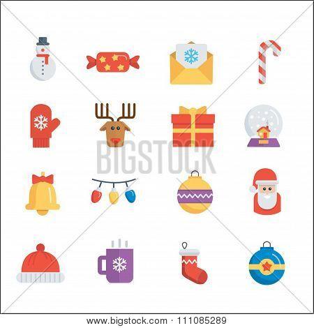 Christmas Set of Holliday icons on white