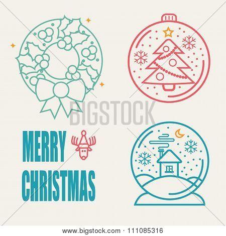 Christmas Symbols Set. Snow Ball, Crhistmas Tree And Christmas Brunch.